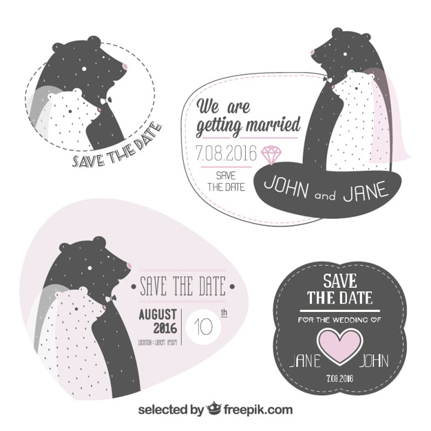 wedding invitations with bears vector free download