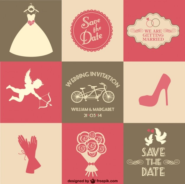 Wedding Invitations With Bride Elements Free Vector