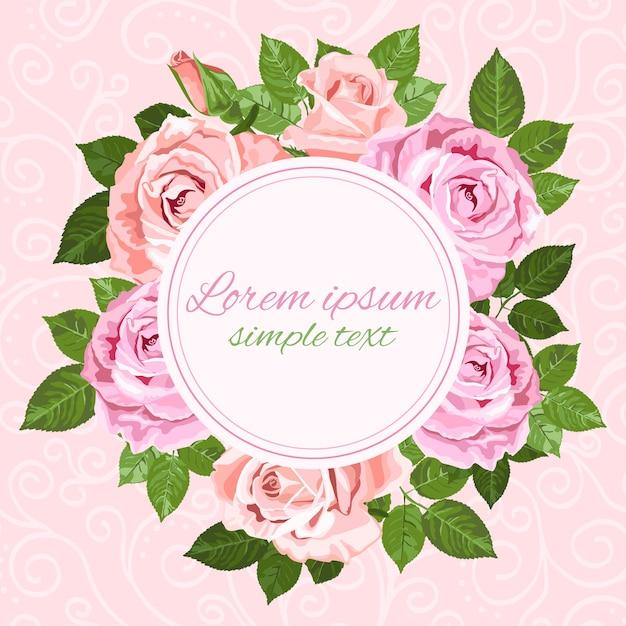 ピンクとベージュのバラの花輪とラウンドフレームの結婚式の招待状 Premiumベクター
