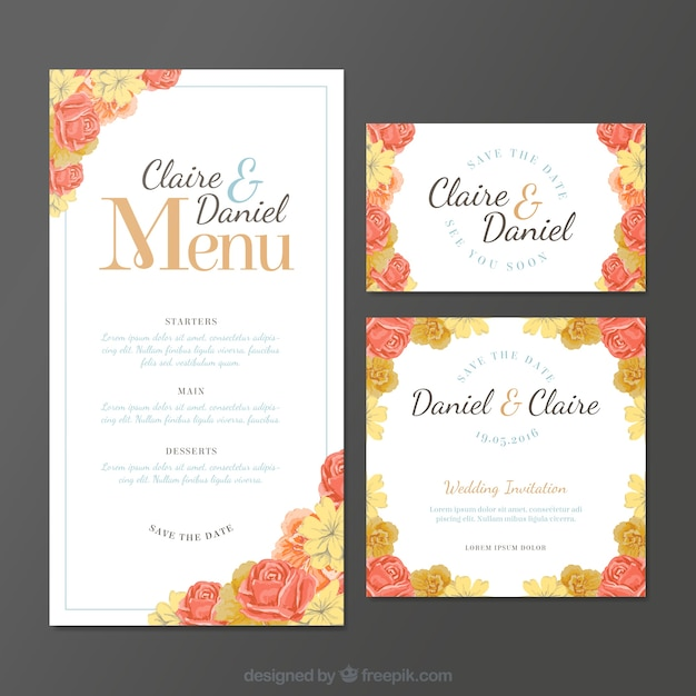 Wedding invitations with roses Free Vector