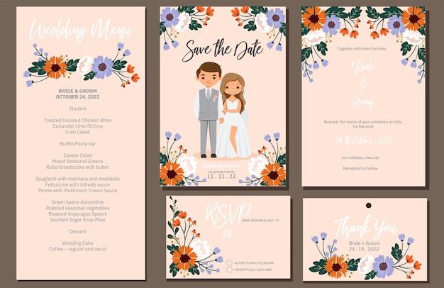 Wedding invite, menu, rsvp, thank you label save the date card Premium Vector
