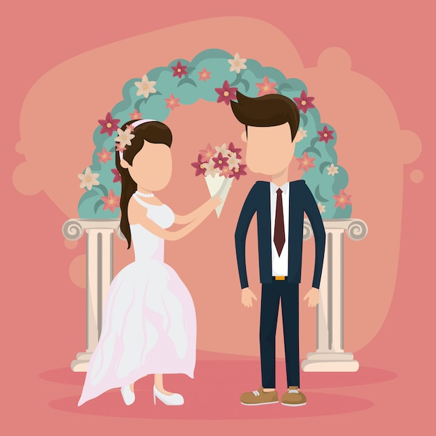 Wedding just married card Premium Vector