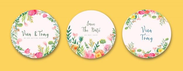 花輪スタイルの花の水彩画の結婚式ラベルコレクション Premiumベクター