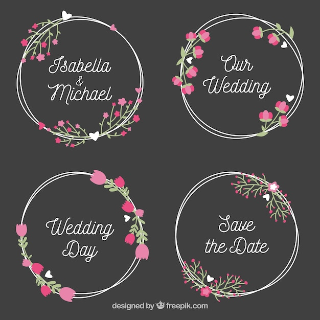 Wedding label collection in wreath style Free Vector