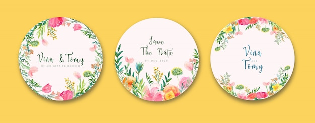 Wedding label collection in wreath style floral watercolor Premium Vector