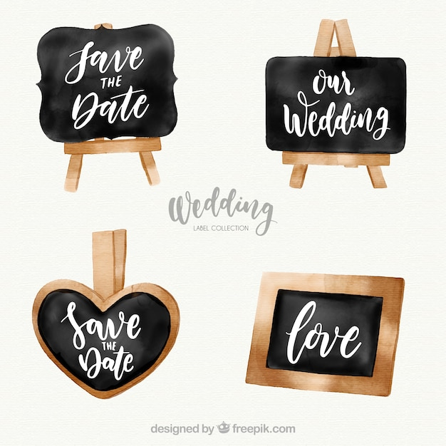 Wedding label set in chalkboard style Free Vector