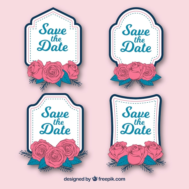Wedding label set with roses