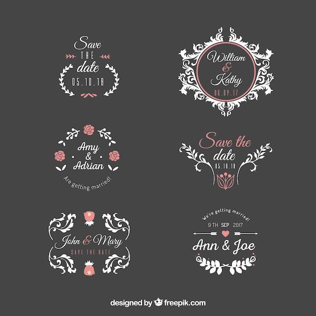 wedding label set vector free download