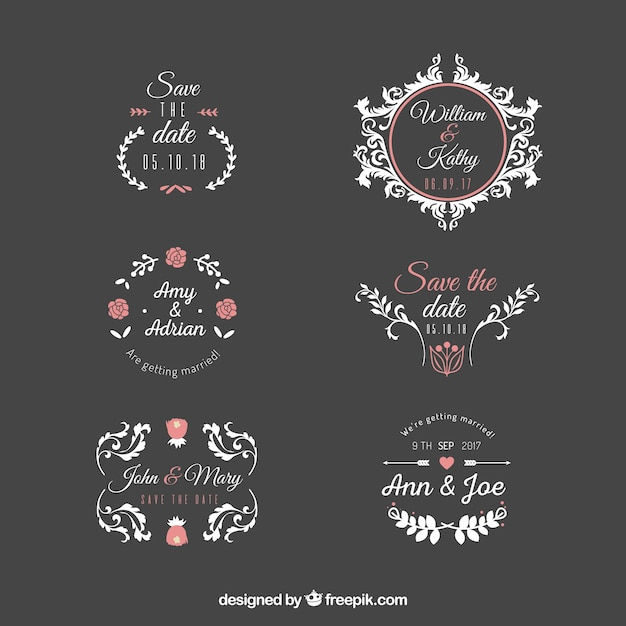 Wedding label set Free Vector