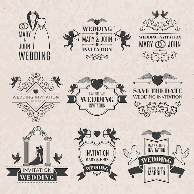 Wedding labels set in victorian style. monochrome pictures set for badges or logos Premium Vector