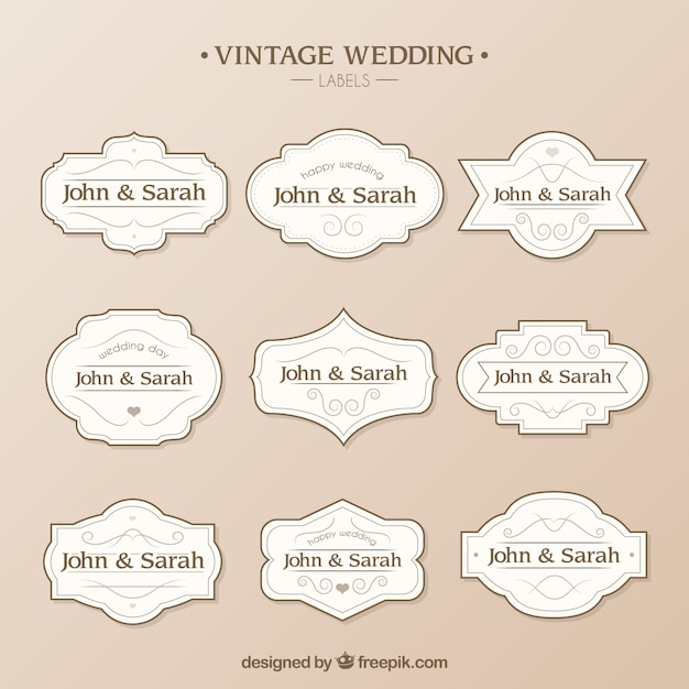Wedding Labels Template Vector  Free Download