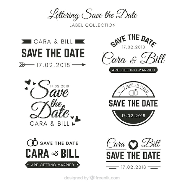 wedding labels with elegant style vector free download