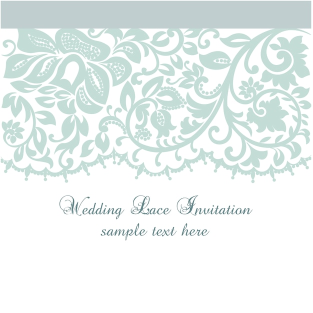 Wedding Lace Invitation Template Vector