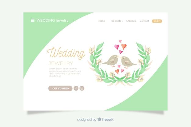 Wedding landing page cute birds Free Vector