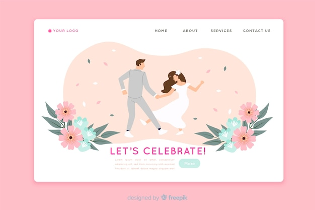 Wedding landing page flat design Free Vector