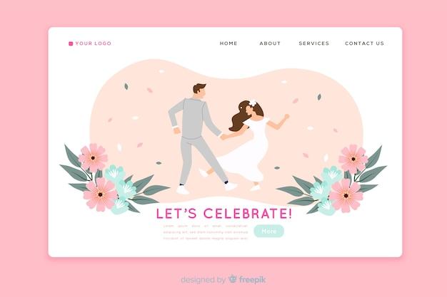 Wedding landing page flat design Free Vector