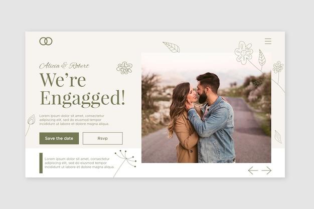 Шаблон свадебной целевой страницы с фото Бесплатные векторы