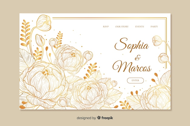Wedding landing page template Free Vector