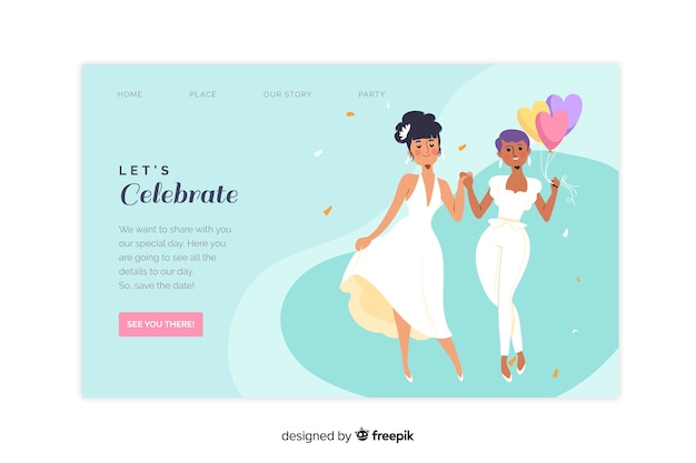Wedding landing page with couple Free Vector