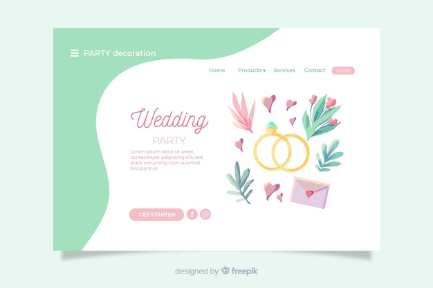 Wedding landing page with lovely elements Free Vector