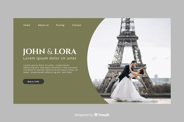 Wedding landing page with photo and dark color Free Vector