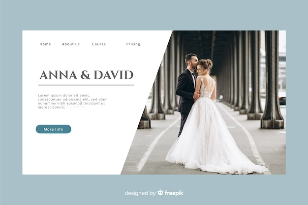 Wedding landing page with photo and pastel color Free Vector