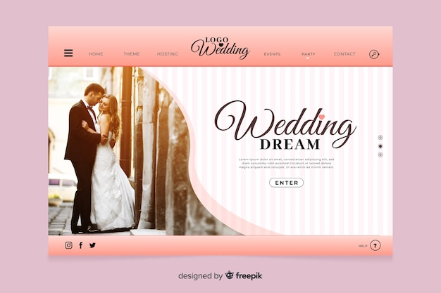 Wedding landing page with photo style Free Vector