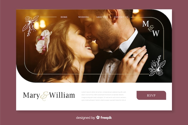 Wedding landing page with photo Free Vector