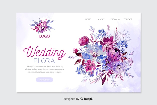 Wedding landing page Free Vector