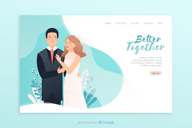 Wedding landing page Free Vector