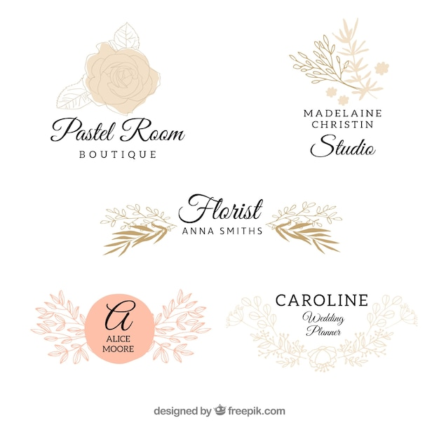 Wedding logo collection Vector Free Download