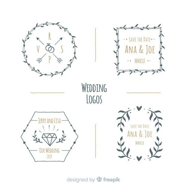 Wedding logo collection Free Vector