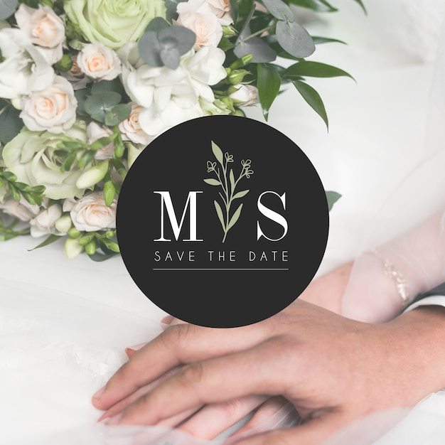 Wedding logo with save the date Free Vector
