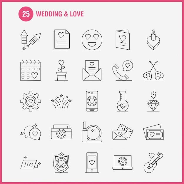 Wedding and love line icons Premium Vector