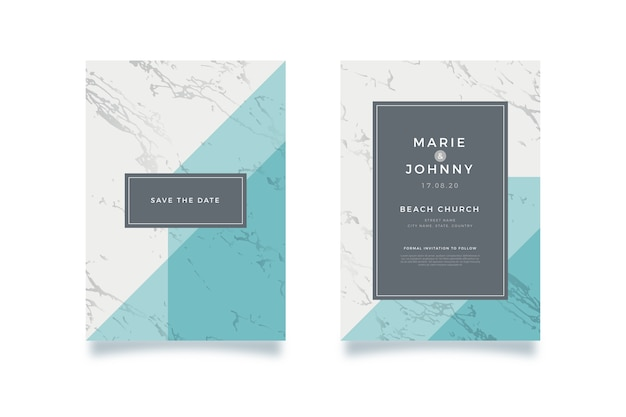 Wedding marble card template Free Vector