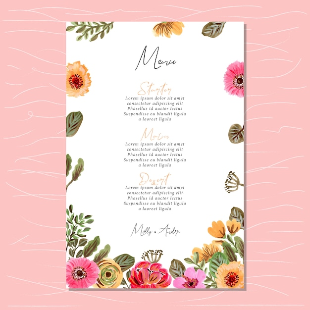 wedding menu card with floral painting frame vector