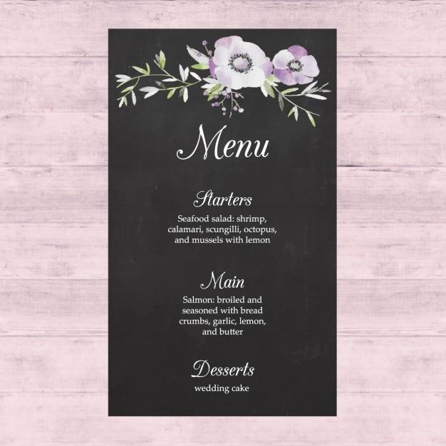 Wedding Menu Design Vector