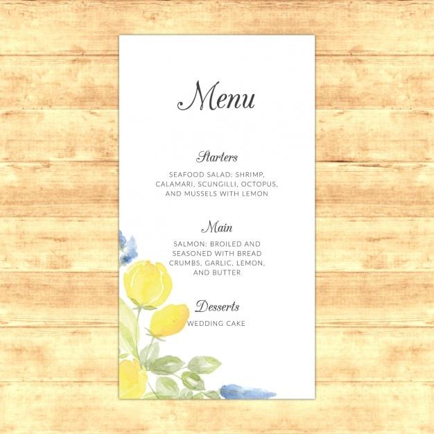 Wedding menu design Free Vector