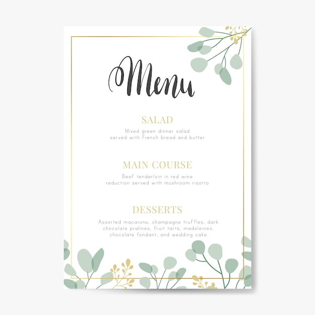 Wedding menu design Free Vector