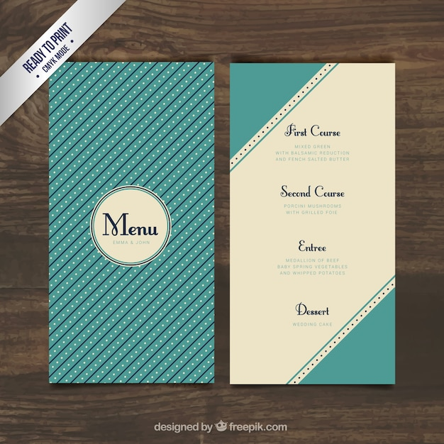 Wedding menu in retro style Free Vector