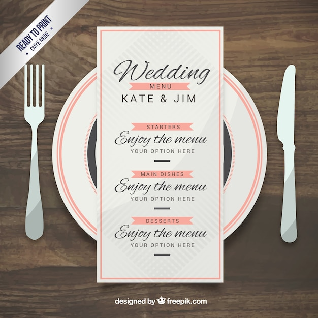 Wedding menu template in elegant style Vector Free Download