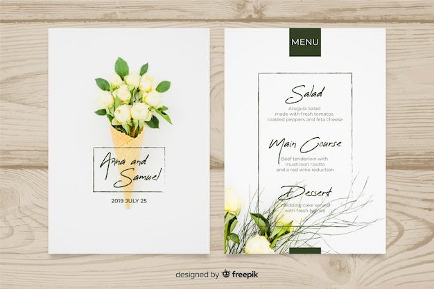 Wedding menu template with photo Free Vector