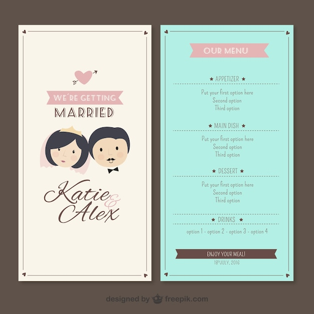 Wedding Menu Template Vector  Premium Download