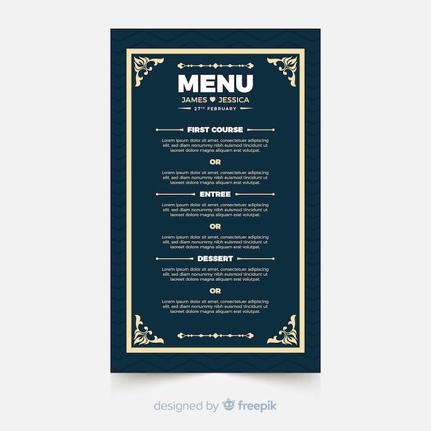 Wedding menu template Free Vector