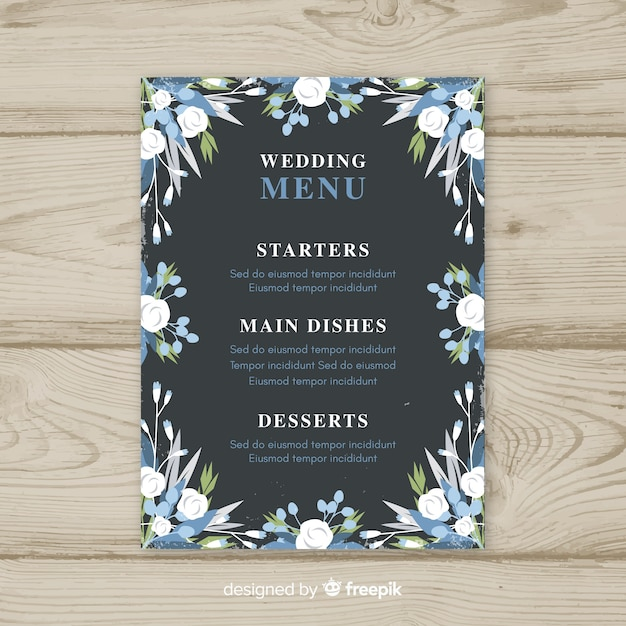 Wedding menu template Free Vector