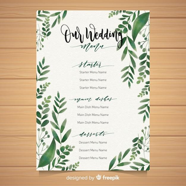 Free Vector Wedding Menu Template