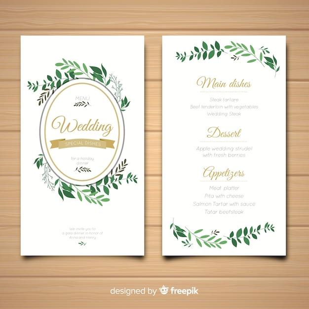 Wedding Menu Template.Wedding Menu Template Vector Free Download
