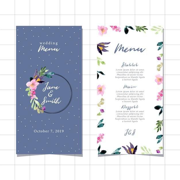 Wedding menu with beautiful floral watercolor frame Premium Vector