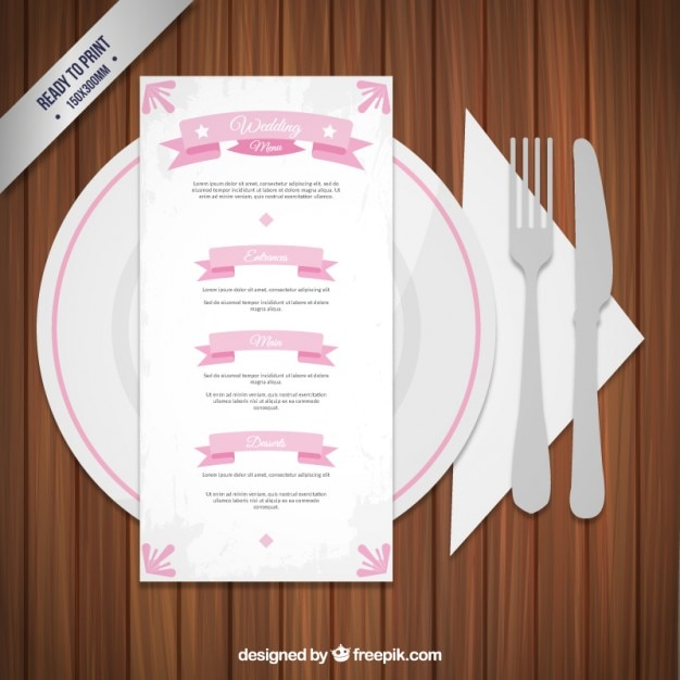 Wedding menu with clutery Free Vector