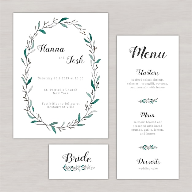 Wedding menu with floral elements Free Vector